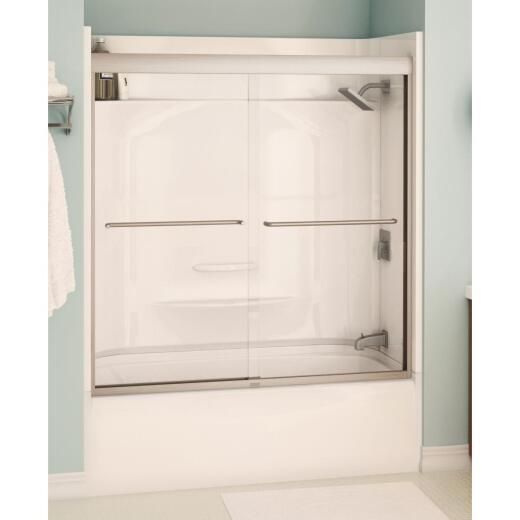 Maax Aura 59.5 In. W. X 57 In. H. Brushed Nickel Semi-Frameless Clear Glass Sliding Tub Door