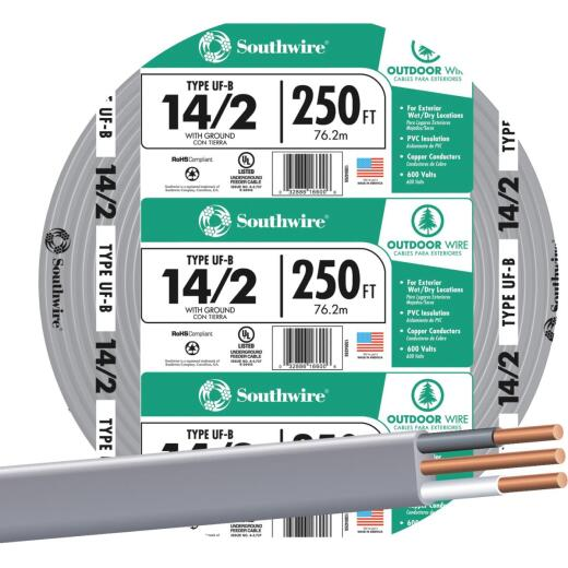 Southwire 250 Ft. 14 AWG 2-Conductor UFW/G Wire