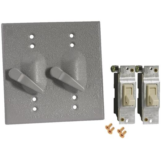 Bell 2-Toggle Vertical Mount Gray Weatherproof Electrical Cover with Switches