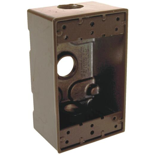 Bell Single Gang 1/2 In. 3-Outlet Bronze Aluminum Weatherproof Outdoor Outlet Box, Carded