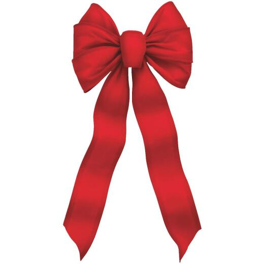 Holiday Trims 7-Loop 10 In. W. x 22 In. L. Red Velvet Wire Christmas Bow